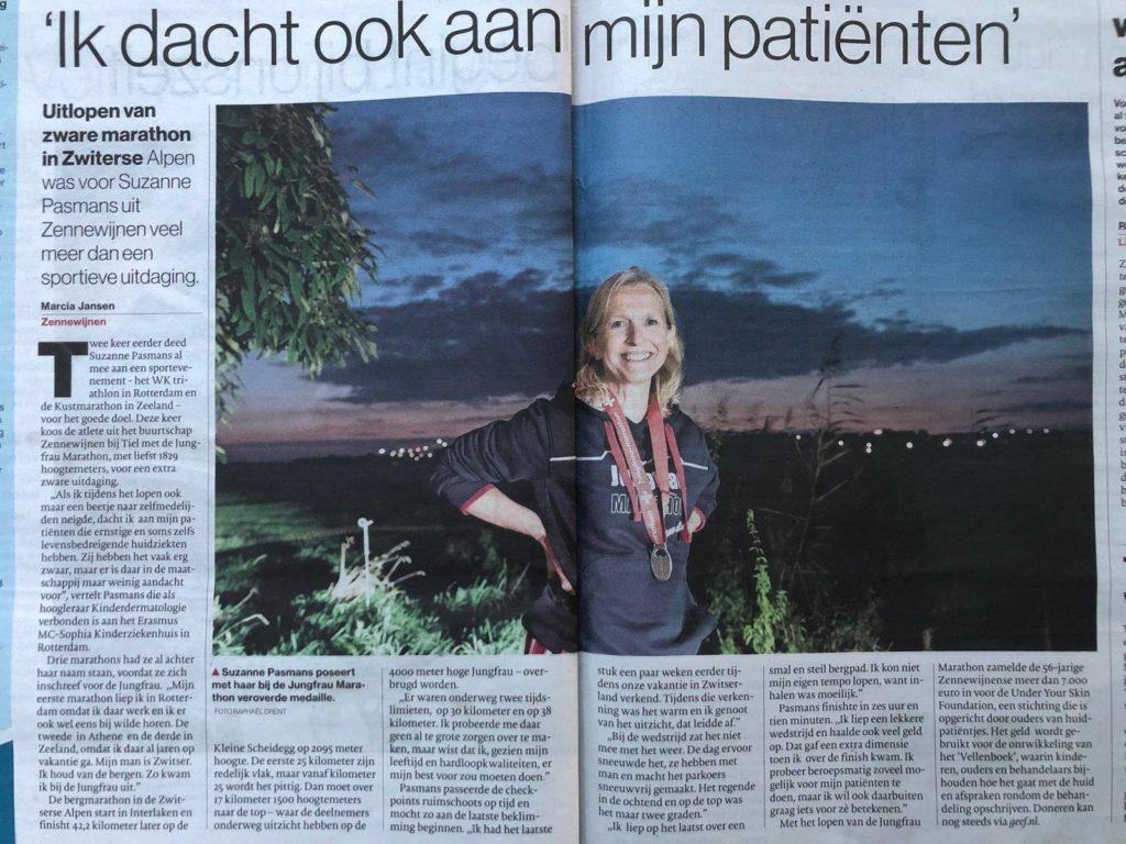 Junfrau Marathon Suzanne Pasmans voor Under Your Skin Foundation krantenartikel